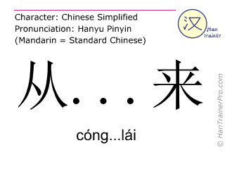Chinese characters  ( cong...lai / cóng...lái ) with pronunciation (English translation: to come from )