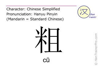 Chinesische Schriftzeichen  ( cu / cū ) mit Aussprache (Deutsche Bedeutung: dick )