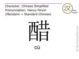 Chinese characters  ( cu / cù ) with pronunciation (English translation: vinegar )