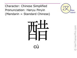 Chinesische Schriftzeichen  ( cu / cù ) mit Aussprache (Deutsche Bedeutung: Essig )