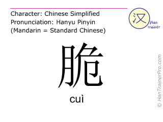 Chinese characters  ( cui / cuì ) with pronunciation (English translation: brittle )