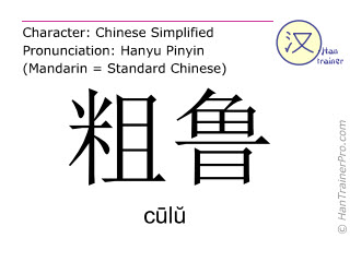 Chinese characters  ( culu / cūlŭ ) with pronunciation (English translation: rude )
