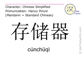 汉字  ( cunchuqi / cúnchŭqì ) 包括发音 (英文翻译: memory )