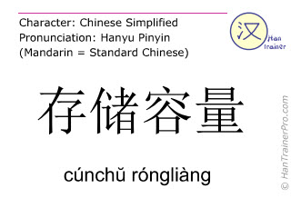 Chinese characters  ( cunchu rongliang / cúnch&#365 róngliàng ) with pronunciation (English translation: storage capacity )
