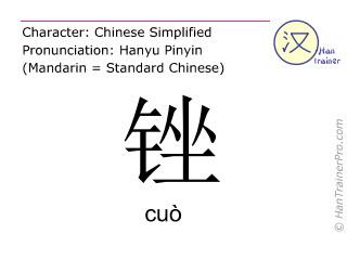Chinesische Schriftzeichen  ( cuo / cuò ) mit Aussprache (Deutsche Bedeutung: feilen )