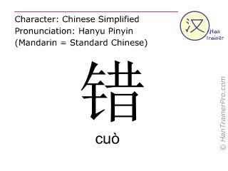 Caractère chinois  ( cuo / cuò ) avec prononciation (traduction française: mal )