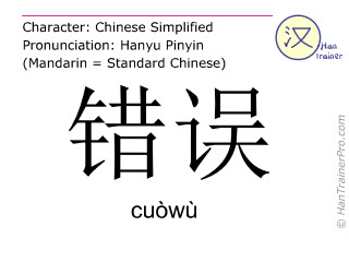 Chinese characters  ( cuowu / cuòwù ) with pronunciation (English translation: mistake )
