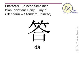 Caracteres chinos  ( da / dá ) con pronunciación (traducción española: respuesta )