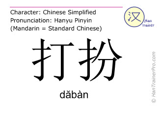 Chinese characters  ( daban / dăbàn ) with pronunciation (English translation: to dress up )