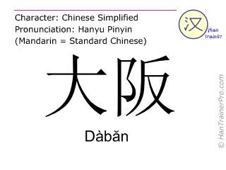 Chinesische Schriftzeichen  ( Daban / Dàbăn ) mit Aussprache (Deutsche Bedeutung: Osaka )