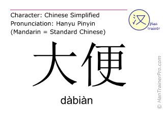 Chinesische Schriftzeichen  ( dabian / dàbiàn ) mit Aussprache (Deutsche Bedeutung: Stuhl (Kot) )