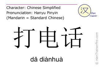 Caractère chinois  ( da dianhua / dă diànhuà ) avec prononciation (traduction française: appeler quelqu'un (au téléphone) )