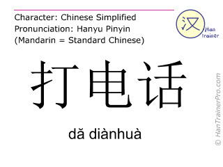 Caracteres chinos  ( da dianhua / dă diànhuà ) con pronunciación (traducción española: llamar a alguien (por teléfono) )