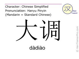 Caracteres chinos  ( dadiao / dàdiào ) con pronunciación (traducción española: mayor )