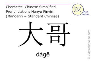 Chinesische Schriftzeichen  ( dage / dàgē ) mit Aussprache (Deutsche Bedeutung: älterer Bruder )