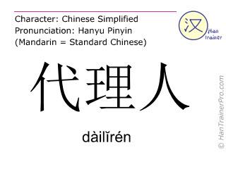 Caracteres chinos  ( dailiren / dàilĭrén ) con pronunciación (traducción española: agente )