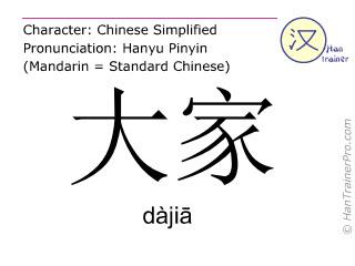Chinesische Schriftzeichen  ( dajia / dàjiā ) mit Aussprache (Deutsche Bedeutung: alle )