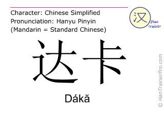 Caractère chinois  ( Daka / Dákă ) avec prononciation (traduction française: Dhaka )