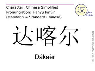 Caractère chinois  ( Dakaer / Dákāĕr ) avec prononciation (traduction française: Dakar )