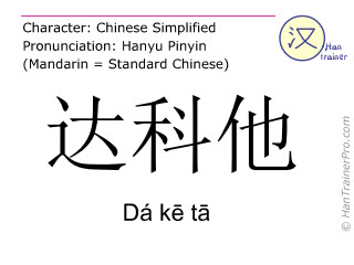 Chinese characters  ( Da ke ta / Dá kē tā ) with pronunciation (English translation: Dakota )
