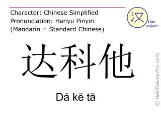 Caractère chinois  ( Da ke ta / Dá kē tā ) avec prononciation (traduction française: Dakota )