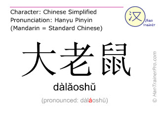 Chinese characters  ( dalaoshu / dàlăoshŭ ) with pronunciation (English translation: rat )