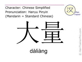 Chinesische Schriftzeichen  ( daliang / dàliàng ) mit Aussprache (Deutsche Bedeutung: große Menge )