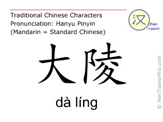 Chinese characters  ( da ling / dà líng ) with pronunciation (English translation: Pericardium 7 )