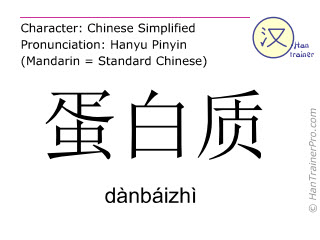 Chinese characters  ( danbaizhi / dànbáizhì ) with pronunciation (English translation: protein )