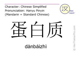 Caracteres chinos  ( danbaizhi / dànbáizhì ) con pronunciación (traducción española: proteína )