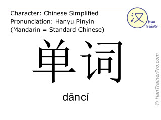 Chinese characters  ( danci / dāncí ) with pronunciation (English translation: vocable )