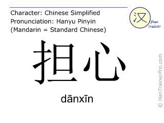 Chinesische Schriftzeichen  ( danxin / dānxīn ) mit Aussprache (Deutsche Bedeutung: sich Sorgen machen )