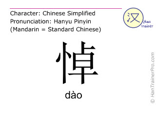 汉字  ( dao / dào ) 包括发音 (英文翻译: to grieve )
