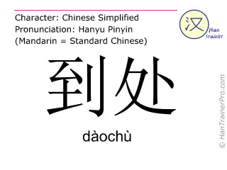Caractère chinois  ( daochu / dàochù ) avec prononciation (traduction française: partout )