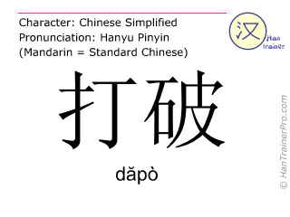 Chinese characters  ( dapo / dăpò ) with pronunciation (English translation: to break )