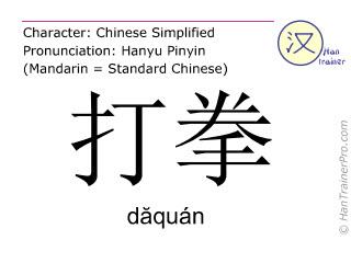 Caractère chinois  ( daquan / dăquán ) avec prononciation (traduction française: faire de la boxe à vide )