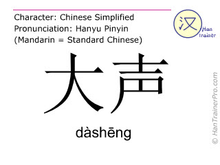 Chinese characters  ( dasheng / dàshēng ) with pronunciation (English translation: loud )
