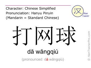 Caracteres chinos  ( da wangqiu / dă wăngqiú ) con pronunciación (traducción española: jugar al tenis )