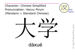 Chinese characters  ( daxue / dàxué ) with pronunciation (English translation: university )