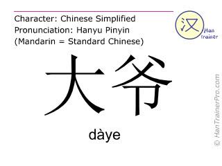 Caractère chinois  ( daye / dàye ) avec prononciation (traduction française: oncle )