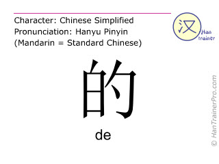 Chinese characters  ( de ) with pronunciation (English translation: <i>particle</i> )