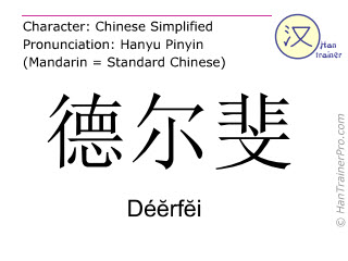 Chinese characters  ( Deerfei / Dé&#277rf&#277i ) with pronunciation (English translation: Delphi )