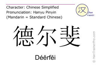 Chinesische Schriftzeichen  ( Deerfei / Déĕrfĕi ) mit Aussprache (Deutsche Bedeutung: Delphi )