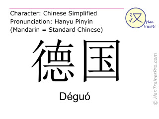 Chinese characters  ( Deguo / Déguó ) with pronunciation (English translation: Germany )