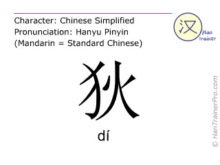 Chinese characters  ( di / dí ) with pronunciation (English translation: <i>surname</i> )