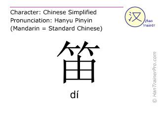 Caractère chinois  ( di / dí ) avec prononciation (traduction française: flûte )