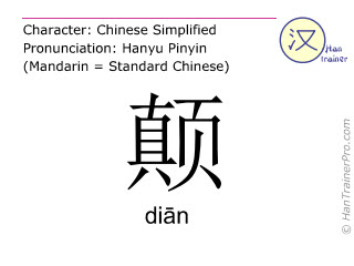 Chinese characters  ( dian / di&#257n ) with pronunciation (English translation: to bump )