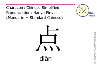 Chinese characters  ( dian / diăn ) with pronunciation (English translation: drop )