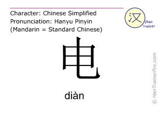 Caracteres chinos  ( dian / diàn ) con pronunciación (traducción española: electricidad )