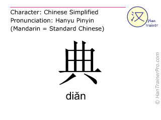 Chinese characters  ( dian / diăn ) with pronunciation (English translation: <m>statute</m> )